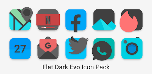 Flat Dark Evo – Icon Pack 5.0 (Patched)