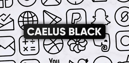 Caelus Black Icon Pack – Black Linear Icons 4.0.4 (Patched)