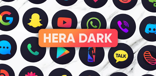 Hera Dark Icon Pack – Circle Shaped Dark Icons 4.7 (Patched)