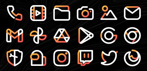 Aline Orange icon pack – linear white & orange v1.0 (Patched)